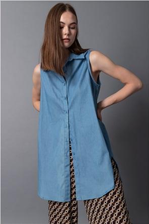 Helmi γυναικείο denim πουκάμισο αμάνικο Oversized