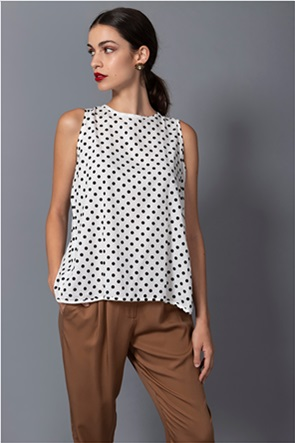 Helmi γυναικεία μπλούζα αμάνικη με πουά σχέδιο