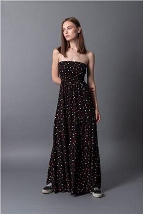 Helmi γυναικείο maxi φόρεμα strapless με πουά σχέδιο
