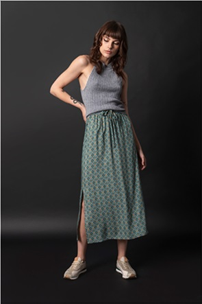 Helmi γυναικεία midi φούστα με geometrical print και πλαϊνά σκισίματα