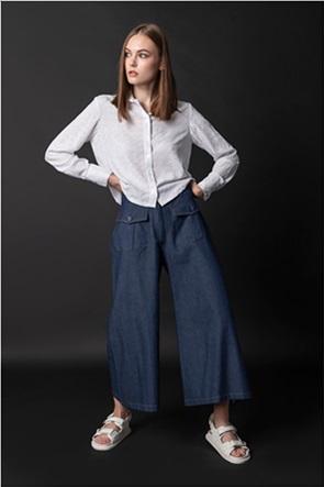 Helmi γυναικείο τζην παντελόνι cropped με εξωτερικές τσέπες