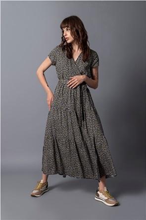 Helmi γυναικείο maxi φόρεμα wrap με all-over print