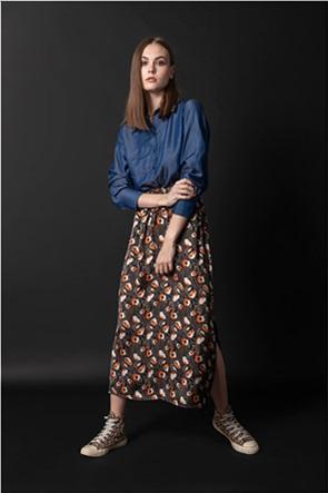 Helmi γυναικεία midi φούστα με floral print και πλαϊνά σκισίματα