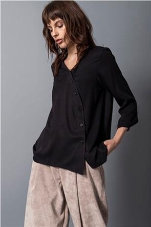Helmi γυναικείο πουκάμισο με λοξό κούμπωμα μονόχρωμο