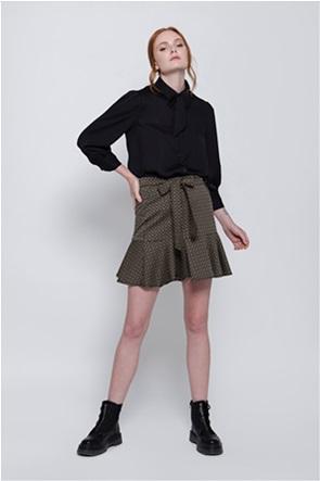 Helmi γυναικεία mini φούστα με all-over print και βολάν
