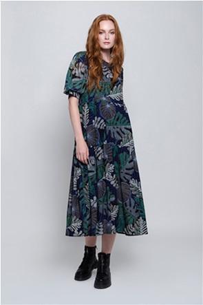 Helmi γυναικείο midi φόρεμα με floral print και βολάν