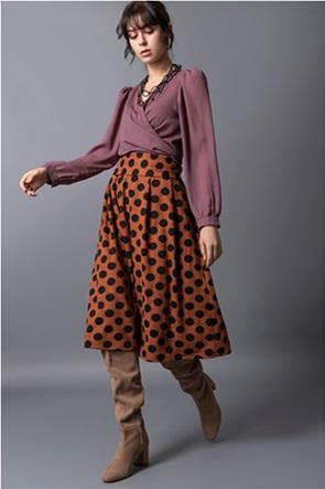 Helmi γυναικεία midi φούστα ψηλόμεση με πουά σχέδιο και πιέτες