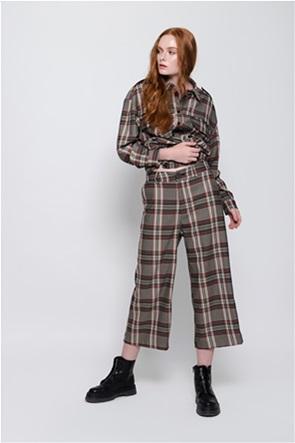 Helmi γυναικείο παντελόνι ψηλόμεσο με καρό σχέδιο