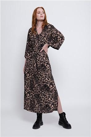 Helmi γυναικείο maxi φόρεμα με all-over animal print και ζώνη