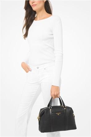 """Michael Kors γυναικεία δερμάτινη τσάντα χειρός με μεταλλικό λογότυπο """"Beck"""""""