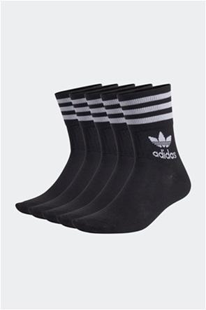 Adidas σετ unisex κάλτσες με κεντήμενο λογότυπο ''Mid Cut Crew'' (5 ζεύγη)