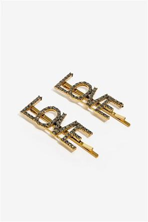 "Nalì γυναικεία τσιμπιδάκια για τα μαλλιά με πέτρες ""Love"""