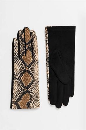 Pia Rossini γυναικεία γάντια με snake print