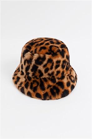 "Pia Rossini γυναικείο καπέλο με animal print και faux γούνα ""Gizelle"""