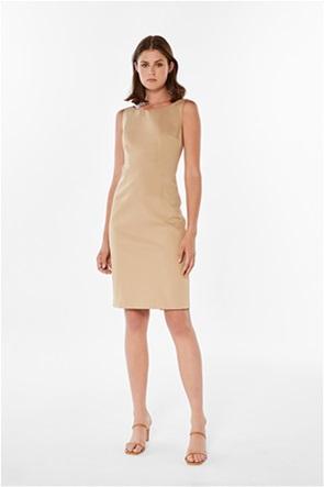 Jupe γυναικείο mini φόρεμα αμάνικο μονόχρωμο