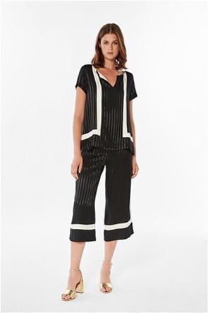 Bella P γυναικείο παντελόνι cropped με ton-sur-ton ριγέ σχέδιο