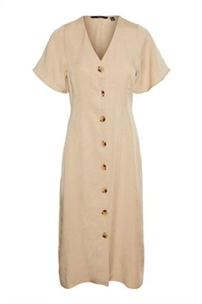 Vero Moda γυναικείο midi φόρεμα με V λαιμόκοψη