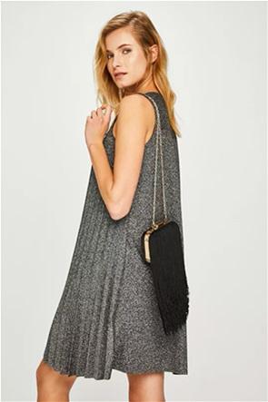 Pieces γυναικεία τσάντα χειρός με κρόσσια και αλυσίδα ώμου