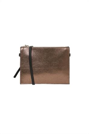Pieces γυναικεία crossbody τσάντα μεταλλιζέ