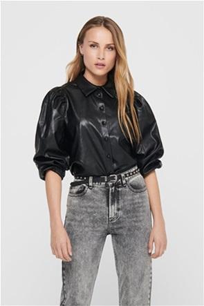 ONLY γυναικείo πουκάμισο δερμάτινο με μανίκια balloon