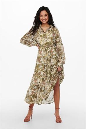 ONLY γυναικείο midi φόρεμα σεμιζιέ με all-over floral print και ζώνη στη μέση