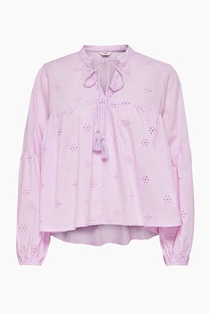 ONLY γυναικεία μπλούζα με διάτρητα κεντήματα και δέσιμο