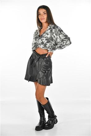 ONLY γυναικεία mini φούστα faux leather με ζώνη