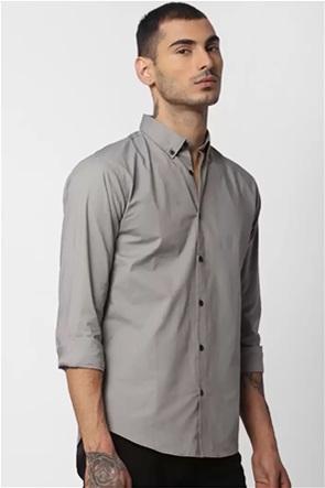 JACK & JONES ανδρικό πουκάμισο μονόχρωμο με κουμπιά στο γιακά