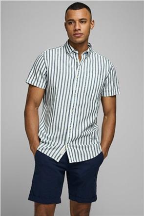 JACK & JONES ανδρικό κοντομάνικο πουκάμισο ριγέ με τσέπη