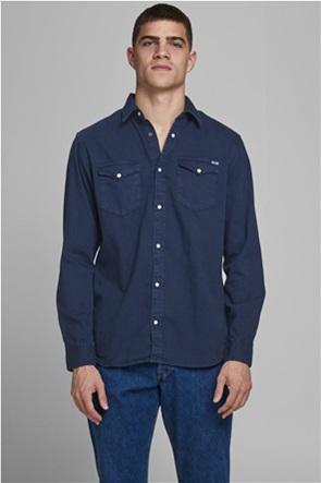 JACK & JONES ανδρικό πουκάμισο μονόχρωμο με τσέπες