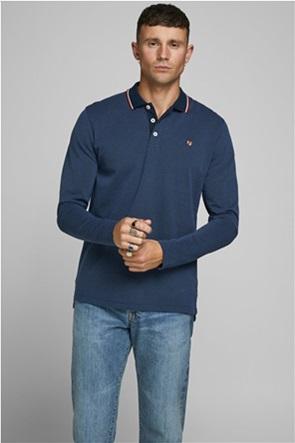 JACK & JONES ανδρική πόλο μπλούζα με ρίγα στο γιακά