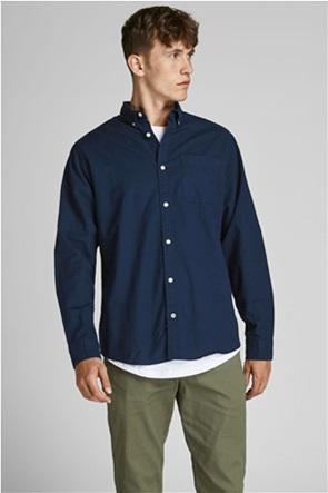 JACK & JONES ανδρικό πουκάμισο button-down μονόχρωμο