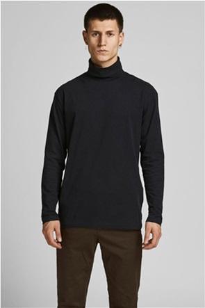 JACK & JONES ανδρική μπλούζα ζιβάγκο μονόχρωμη
