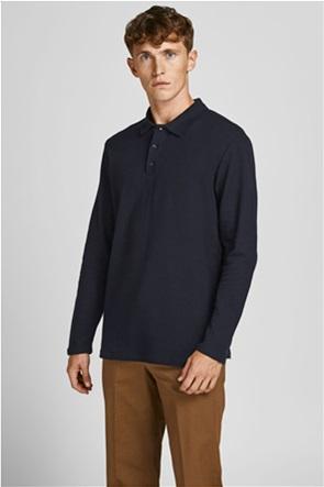 JACK & JONES ανδρική πόλο μπλούζα μονόχρωμη