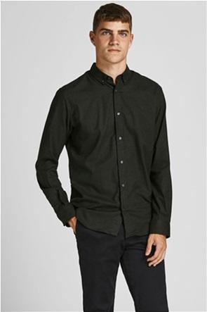 JACK & JONES ανδρικό πουκάμισο μονόχρωμο με button-down γιακά