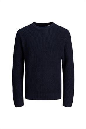 JACK & JONES ανδρική πλεκτή μπλούζα μονόχρωμη
