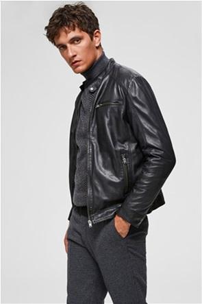 Selected ανδρικό δερμάτινο biker jacket