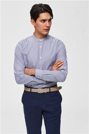 Selected ανδρικό ριγέ πουκάμισο με μάο γιακά