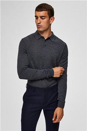 Selected ανδρική πλεκτή μπλούζα polo μακρυμάνικη