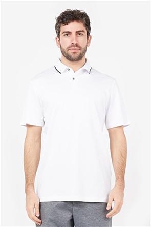 Selected ανδρική πόλο μπλούζα με contrast ρίγα στο γιακά Slim Fit