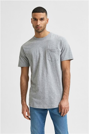 Selected ανδρικό T-Shirt μονόχρωμο με απλικέ τσέπη στο στήθος