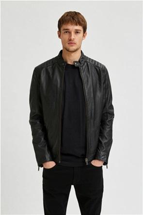 Selected ανδρικό biker jacket με καπιτονέ σχέδιο στους ώμους