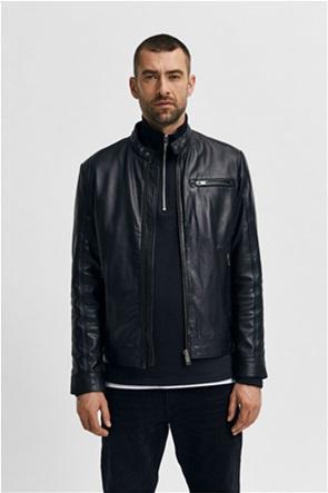 Selected ανδρικό biker jacket δερμάτινο