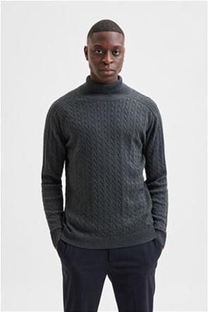 Selected ανδρική πλεκτή μπλούζα ζιβάγκο μονόχρωμη