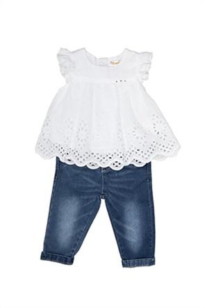 Grant Babybol παιδικό σετ μπλούζα με δαντέλα κιπούρ και τζην παντελόνι
