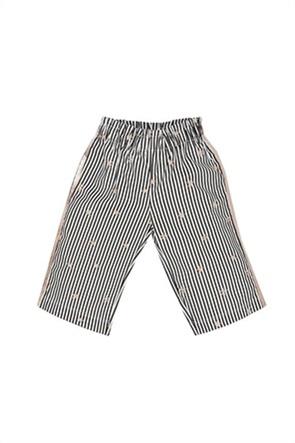 Grant EMC παιδική παντελόνα κάπρι με ριγέ σχέδιο και κεντήματα