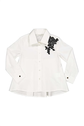 Grant TryBeyond παιδικό πουκάμισο σατινέ με contrast κέντημα