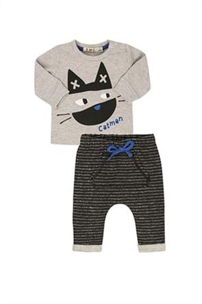 Grant EMC βρεφικό σετ ρούχων μπλούζα με print και ριγέ παντελόνι φόρμας
