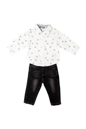 Grant Babybol βρεφικό σετ ρούχων πουκάμισο με all-over print και τζην παντελόνι