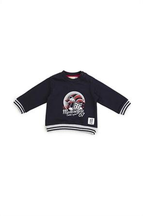 Grant Babybol βρεφική φούτερ μπλούζα με print και ριγέ λεπτομέρειες
